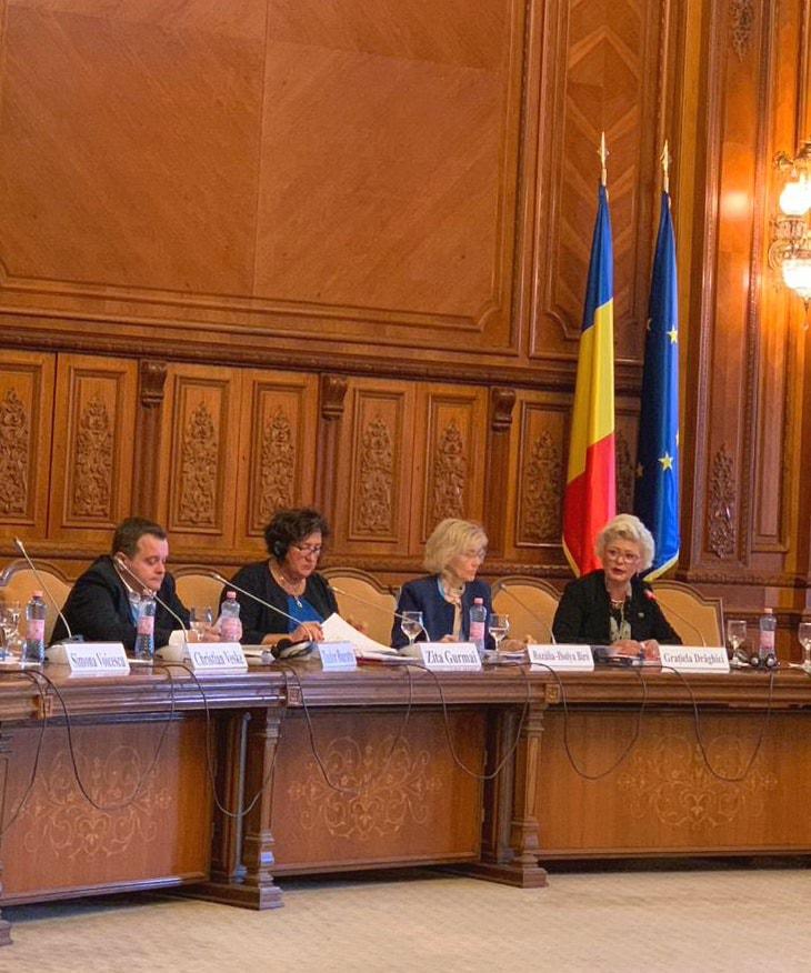 """Astăzi, Secretarul de stat al ANES, Grațiela Drăghici, a participat la Conferința """"România spre Președinția Consiliului Uniunii Europene – egalitate pentru o societate dezvoltată"""", eveniment organizat la Palatul Parlamentului de către Comisia pentru politică externă din Camera Deputaților, condusă de președintele Rozália Biró, în parteneriat cu EIGE – Institutul European pentru Egalitate de Gen, reprezentat de directorul Virginija Lanbakk."""