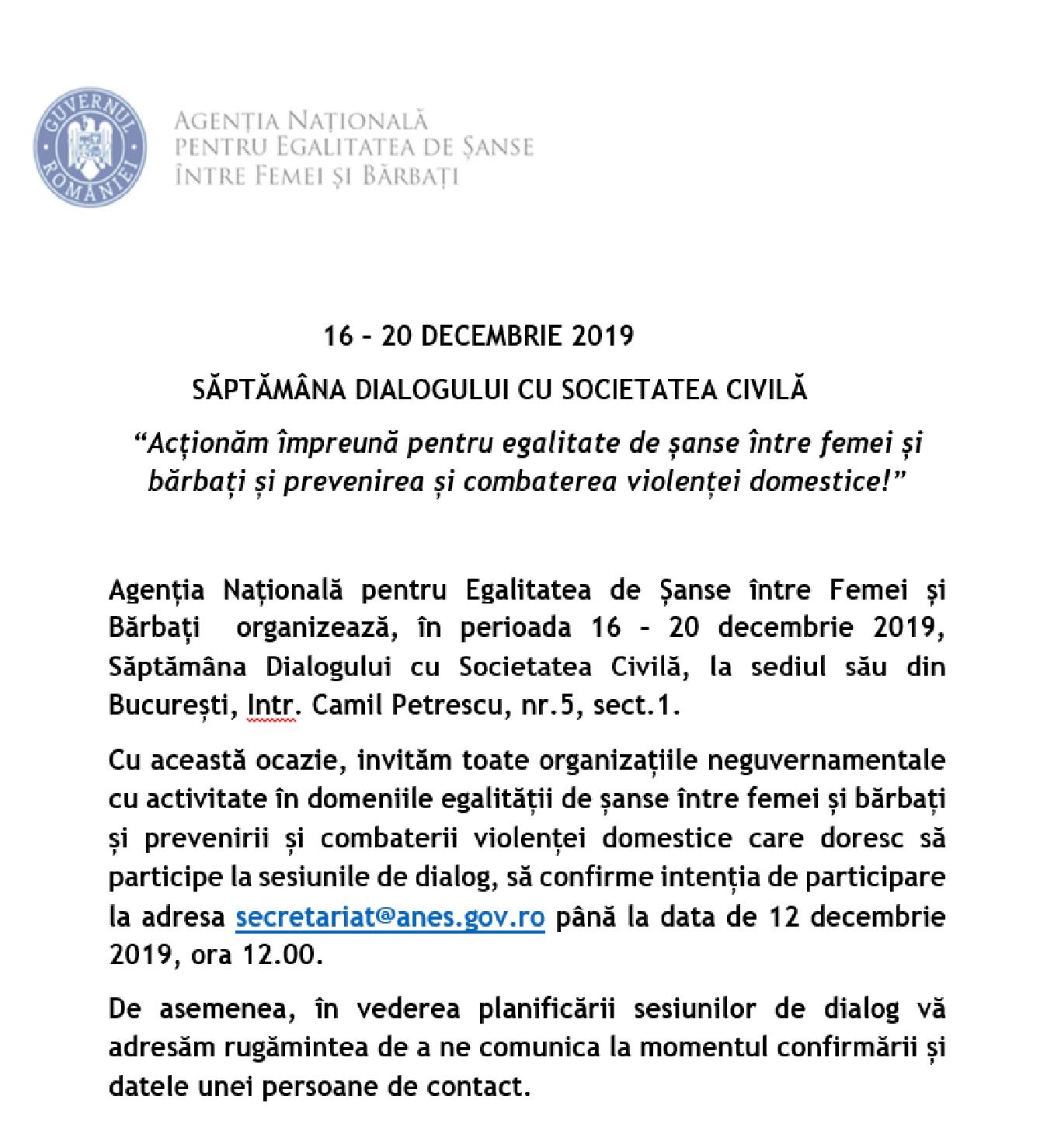 SĂPTĂMÂNA DIALOGULUI CU SOCIETATEA CIVILĂ 16 – 20 DECEMBRIE 2019